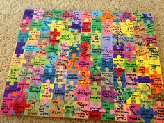 Before Brandon and I got married, I came up with a cool idea for a wedding gift.  Starting at the 100 day countdown, I gave Brandon a puzzle piece each day until our wedding day.  On each piece was a reason I wanted to marry him.  By our wedding day, he had 100 reasons I wanted to marry him. Now we have some very cool artwork for the house-- and it's very meaningful.