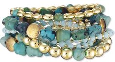 Beach Chic!!  JENNIFER MILLER Yellow Gold Plated and Faux Turquoise Beaded Stretch Bracelets - Set of 9.