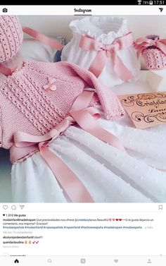 Knitting For Kids, Baby Knitting Patterns, Crochet Girls, Crochet Baby, Crochet Clothes, Diy Clothes, Baby Boutique Clothing, Combo Dress, Perfect Pink