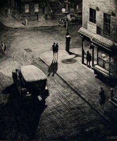 'Relics (Speakeasy Corner)', 1928 by Australian-born American artist printmaker Martin Lewis Drypoint, x in. via Art History News Edward Hopper, Harlem Renaissance, Norman Rockwell, Albrecht Dürer, Drypoint Etching, Art Graphique, Nocturne, Urban Landscape, Dark Art