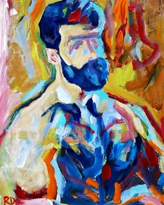 Bear Naked painting by RD Riccoboni #art #artstudio #bear #beardedartist #rdriccoboni