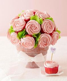 Surprise your sweetheart with a pot of our amazingly easy cupcake roses. Here's how: http://www.midwestliving.com/holidays/bake-a-cupcake-bouquet/