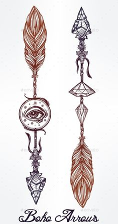 Ethnic Boho Decorative Arrows Set In Tattoo Style. - Tattoos Vectors
