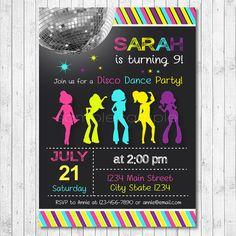 Disco Invitation Disco Invite Disco Party Dance by funkymushrooms
