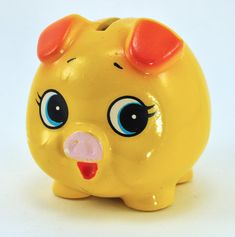 Vintage Piggy Bank - I had one like this with Florida written on the side. Toys For Girls, Kids Toys, Pig Bank, Nursery Shelves, Cute Piggies, Candy Bar Wrappers, This Little Piggy, Money Box, Mellow Yellow