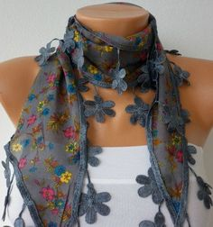 NEW Gray  Scarf  Headband Necklace Cowl with Lace Edge by fatwoman, $15.00