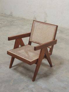 Teak and Cane Easy Chair, Pierre Jeanneret, c.1955 for Chandigarh, India. USD 840.00, projectchandigarh.com #pierrejeanneret #projectchandigarh