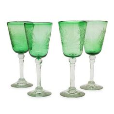 Mexican Etched Handblown Glass Wine Goblets (Set of 4) - Emerald Flowers | NOVICA