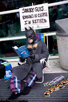 Batman's retired, and reading game of thrones xD