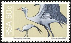Blue Crane stamps - mainly images - gallery format Wild Creatures, Flora And Fauna, Mail Art, Postage Stamps, Crane, Landscape Photography, South Africa, Birds, History