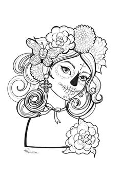 Here is one of three Day of the Dead coloring pages for you to print!