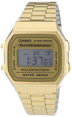CASIO Collection A168WG-9EF - Reloj unisex de cuarzo, correa de acero inoxidable…