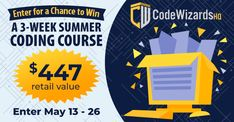 Summer Giveaway, Free Kids Coding Classes ($447 value) Online Coding Classes, Coding Classes For Kids, Coding For Kids, Coding Academy, Coding Courses, Traffic Congestion, Summer Classes, Advertising And Promotion, Learn To Code
