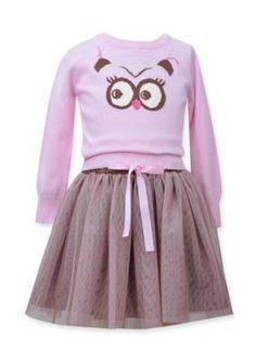Bonnie Jean  2-Piece Owl Sweater and Skirt Set Girls 4-6x