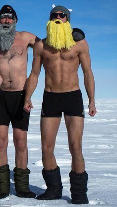 He's a Norse god! Alexander Skarsgard shows off his toned physique in boxers, and wears a blonde beard with a horned hat in a new photo from...