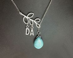 Initial Necklace A-Z Branch and Turquoise lariat necklace in white gold, Holiday gift, Bridesmaid gift idea,Monogram Necklace on Etsy, $12.99