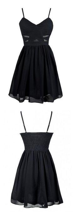 Vintage Black Homecoming Dress, Black Short Prom Dress, Deep V Neck Prom Dress, Mini Party Dress