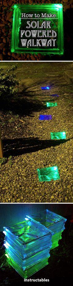 How to Make a Solar Powered Walkway #solar #glasstile #garden #walkway #nightlight