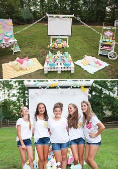 An Outdoor Movie Night Birthday Party with a decorated projector screen, popcorn bar, candy concession stand, custom pillows, cupcake decorating, picnic area & more. #outdoorideasparty