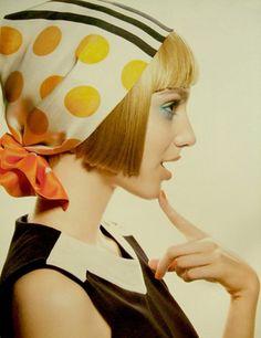Mary quant 60s Mod dress & pattern head scarf