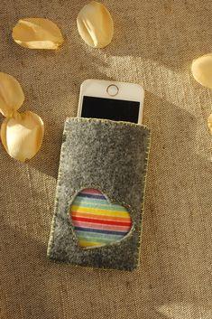 Felt Cell Phone Bag with Rainbow Heart https://etsy.me/2ILZkZM #etsy #airyfairybags #accessories #case #cellphone #gray #cellphonebag #rainbowheart #cutephonesleeve #feltphonesleeve #freepeople #iphonecase #freelove #phonepouch #iphone5case #gadgetbag #rainbow
