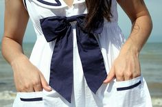 Nautical by Nature Blue Bow, Blue And White, Navy Blue, Nautical Outfits, Nautical Clothing, Sailor Theme, Sailor Dress, Themed Outfits, Preppy