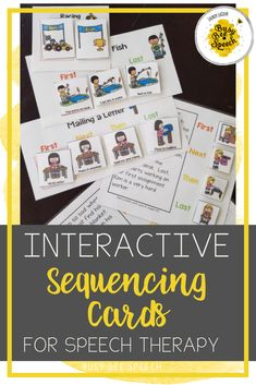 These interactive sequencing cards for speech therapy include 5 levels of practice.  From 2 step sequences all the way to stories. Visuals included.