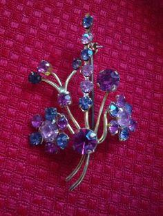 Vintage Pink and Purple Rhinestone Floral by VansVintageTreasures, $30.00