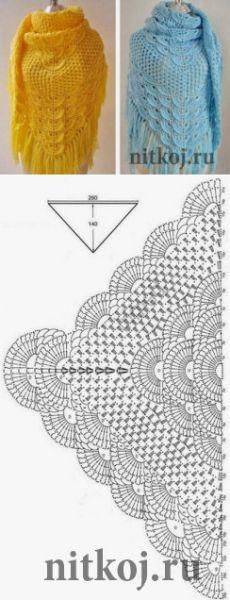 Красивая шаль крючком » Ниткой - вязаные вещи для вашего дома, вязание крючком, вязание спицами, схемы вязания