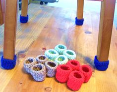 Crochet Chair Socks Floor Protector Table Leg Set Of 16 Pick Your Colors Custom Order