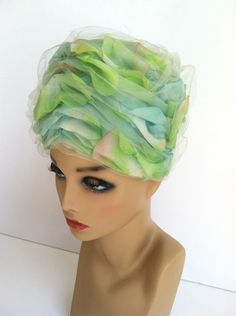 Vintage Petal Covered Hat, Romantic Rose Petal Covered Pillbox Turban Style Hat, Ladies Hat, Rosamonde Hat, Tulle Netting, Aqua Blue Green by MissJeanJellyBean on Etsy https://www.etsy.com/listing/386694252/vintage-petal-covered-hat-romantic-rose