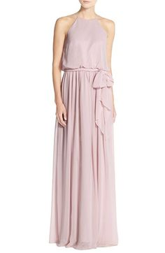 Free shipping and returns on Donna Morgan 'Alana' Chiffon Halter Style Gown at Nordstrom.com. From the Serenity collection by Donna Morgan, a flowing chiffon gown is designed with a halter-style neckline to showcase pretty shoulders and a blouson silhouette for effortless flattery. A sash at the waist wraps up the dreamy look.
