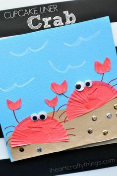 Cupcake Liner Crab Craft for Kids