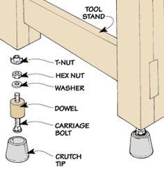 Leg Leveler  http://woodworkingtips.com/etips/etip010608sn.html