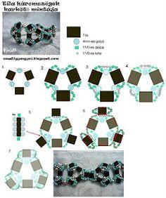 Ewa83 gyöngyei: Tila háromszögek karkötő mintája