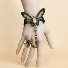 Vintage Butterfly Shape Design Lace Bracelet With Ring, AS THE PICTURE, ONE SIZE in Bracelets   DressLily.com