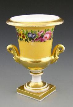 Old Paris Porcelain Campana Form Handled Urn, Mid