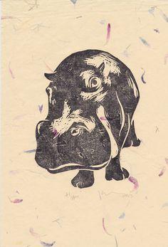 Hippo Open Edition Hand-Pulled Linocut Print Cream Flower £10.00