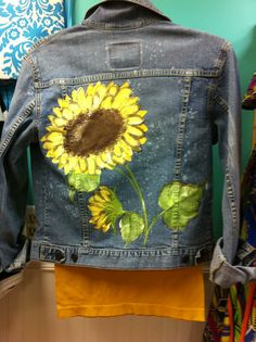 Lia Rester, you need one like this!!! From My Happy Place in Elba: Reclaimed and handpainted denim jacket $45