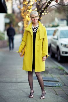 Modern Retro For the Holidays YLFs Angie, Chartreuse Coat worn open Spring Fashion, Winter Fashion, You Look Fab, Church Outfits, Modern Retro, Indian Designer Wear, Retro Outfits, Piece Of Clothing, I Dress