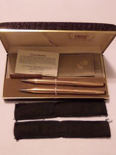 VINTAGE LADIES A GIFT FOR HER CROSS 14 KT GOLD FILLED PEN PENCIL SET  #Cross