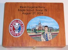 """Misguided Designs Hand Painted Gifts. Eagle Scout Box - sized 12""""L x 9""""W x 3""""H, this Basswood box celebrates Ryan's scouting life with him standing in front of his Eagle project."""