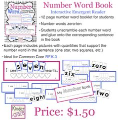 Number Word Interactive Emergent Reader - students unscramble number words to complete each page of the book (idea to DIY)