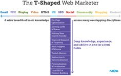 The T-Shaped Web Marketer - T-Shaped basically refers to having a light level of knowledge in a broad array of skills, and deep knowledge/ability in a single one (or a few).