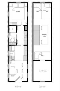 I regularly hear folks asking for tiny house designs without lofts. Climbing ladders and limited headroom isn't for everyone. So when I began drawing the floor plans for Tiny House Floor Plan… Instead of twin - office Plan Tiny House, Tiny House Living, Tiny House On Wheels, Small House Plans, House Floor Plans, Small Room Design, Tiny House Design, Design Despace, Layout Design