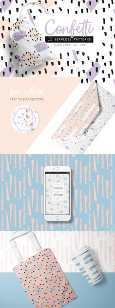 A great set of 12 Confetti Style Seamless Vector Patterns!