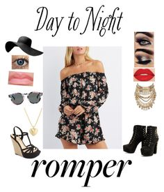"""""""day to night floral romper"""" by mystyle47 ❤ liked on Polyvore featuring Charlotte Russe, Jessica Simpson, Komono, Smashbox, River Island, Finn, DayToNight and romper"""