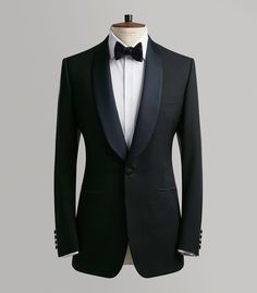 Midnight Blue Merino Wool SB Evening Suite - Full Front view with Waistcoat, Shirt and Bow Tie Blue Suit Wedding, Wedding Suits, Wedding Tuxedos, Fitted Suit, Tailored Suits, Mens Fashion Suits, Mens Suits, Formal Attire For Men, Black Tuxedo Jacket