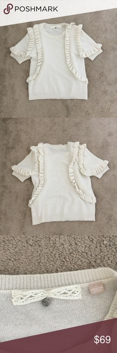Cashmere short sleeves by anthropologie On very excellent condition  Cashmere  All details on pictures  No stain at all Anthropologie Tops Blouses