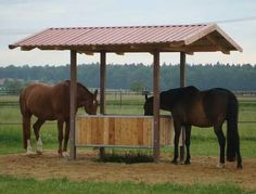 Good Idea - Paddock Paradise hooibak: make the hay feeder in the middle a slow feeder that can hold several bales Horse Shed, Horse Barn Plans, Horse Stalls, Hay Feeder For Horses, Horse Feeder, Paddock Trail, Horse Paddock, Small Horse Barns, Horse Shelter